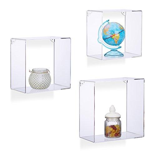 Relaxdays Wandregale Acryl, quadratisches Wandboard 3er Set, bruchsichere Kunststoffregale zum Aufhängen, transparent