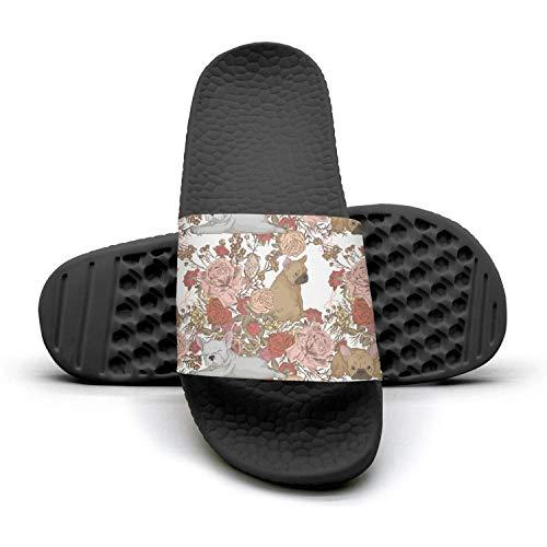 Floral French Bulldog Boxer Black Slides Shoes Sandal Slip on showerlightweight WoMenComfort Foam
