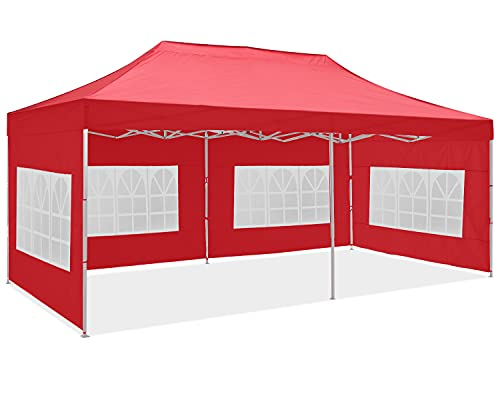 OUTDOOR WIND 10x20FT Pop Up Canopy Tent Commercial Instant Gazebo Tent Waterproof Outdoor Party Canopies with 6 Removable Sidewalls(Red)