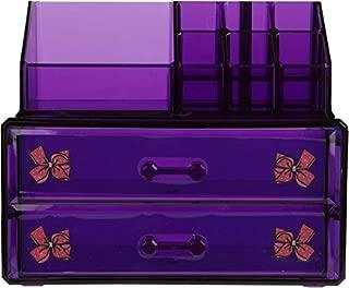 JoJo Siwa Makeup and Accessories Organizer, Purple, 1 Pound, Vanity Organizer, Lipstick Holder, Accessory Organizer, Sliding Drawers, Makeup Brushes, 2-Piece Set