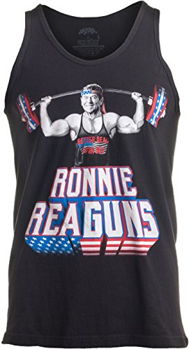 Ann Arbor T-shirt Co. Ronnie ReaGUNS | Funny Ronald Reagan Weight Lifting Workout Merica USA Tank Top-(Adult,L)