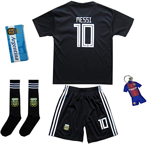KID BOX 2018 Argentina #10 Away Soccer Kids Jersey & Short Set Youth Sizes (Jet Black, 9-10 Years)