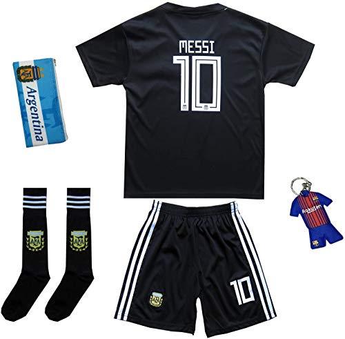 KID BOX 2018 Argentina #10 Away Soccer Kids Jersey & Short Set Youth Sizes (Jet Black, 13-14 Years)