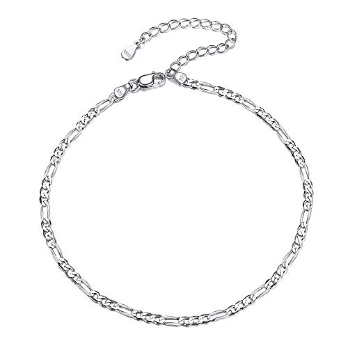Figaro Chain Anklet 925 Sterling Silver Bohemian Jewelry Gift for Women Girls Children