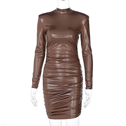 Dresses Hübsche Kleid Kleider Damen Pu Leder Minikleid Rüschen Rollkragenpullover Langarm Bodycon Bandage Sexy Streetwea