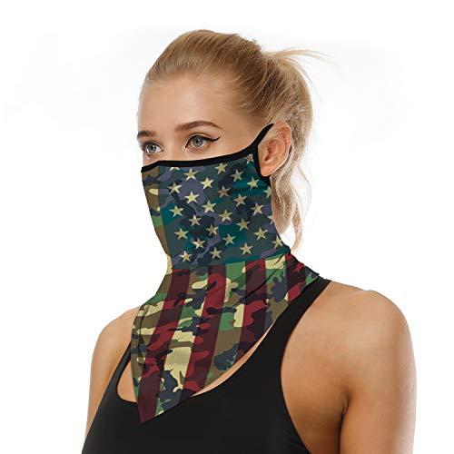 Ear Hangers Face Mask Seamless Bandanas Headband Scarf Neck Gaiter Sun UV Wind Motorcycle Mask Earhook Balaclava Floral Printed American Flag-5