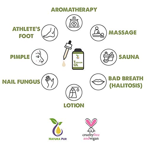 Natura Pur Bio Teebaumöl 50ml – 100% naturreines ätherisches Öl aus Australien, vegan – zur Anwendung auf unreiner Haut, Hautentzündungen, Anti Pickel, Akne sowie Warzen und Pilzen – Diffuser Öl - 3