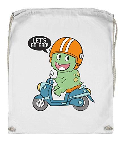 Druckerlebnis24 Turnbeutel - Lets Go Bro Dinosaurier - Stoffbeutel aus Bio Baumwolle