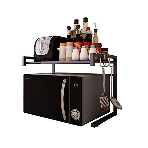 Vinteky Mensola da forno per microonde, scaffale da cucina, ideale da appendere multifunzionale, scaffale da cucina, colore nero