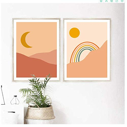 Crazystore Canvas Art Walls Painting 2x60x80cm(23.6x31.5in) no frame Nordic Decoration Delicate Moon Rainbow Sun Poster and Print Painting Picture for Living Room Home Decor