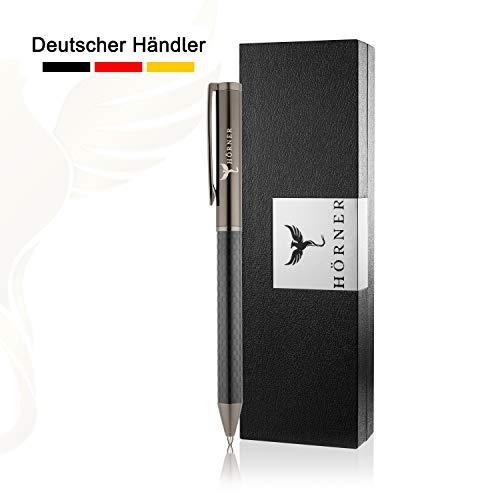 HÖRNER CARBONEO - Hochwertiger Carbon Kugelschreiber I Schwarz aus Metall I in edler Geschenkbox