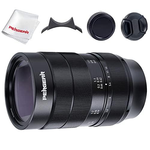 PERGEAR 60mm F2.8 Objetivo ultramacro con Aumento 2X, Compatible con cámaras Sony con Montura M A5000 A5100 A6000 A6100 A6300 A6400 A6500 A6600