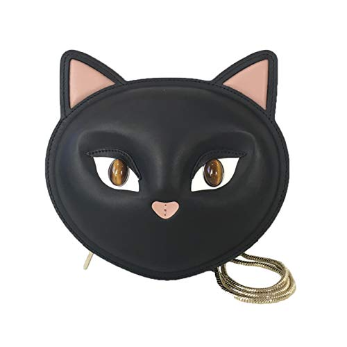 "Crossbody bag shaped in a cat crafted in Italian leather. Features cat motif with stone eyes, a pink nose and 3D ears. Custom hardware. Exterior back gold foil logo. Removable snake chain with 21"" drop. Zip closure. Bonded suede lining. 6"" H x 7.5"" L..."