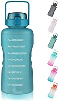 FCSDETAIL 3,78L Sport Waterfles met Motiverende Tijdmarkering, Lekvrij, BPA-vrij Grote Drinkfles met Staw voor Fitness...
