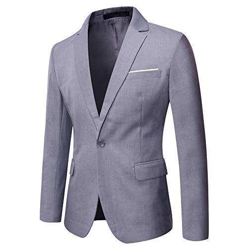 WULFUL Men's Suit Jacket One Button Slim Fit Sport Coat Casual Blazer Jacket Light Gray