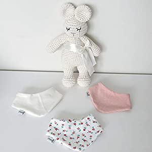 3er Set Halstücher – Weiß/Rose meliert/Cremeweiß kleine Rosen Baby Junge Baby Mädchen Halstuch Spucktuch Lätzchen