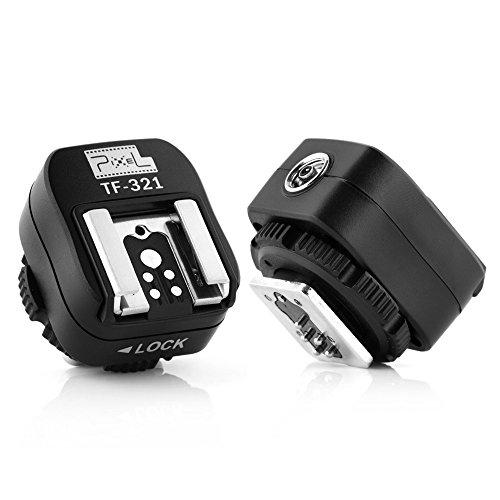 Pixel TF-321 E-TTL Blitzschuh-Adapter mit extra PC-Sync-Port für Canon DSLRs und Blitzgeräte
