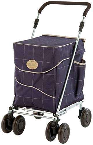Sholley Deluxe Shopping Trolley 4 (6) Wheels, Folding, Strong, Stable, Aids Mobility, Ladies, Mens and Unisex Designs (Mulberry, Regular)