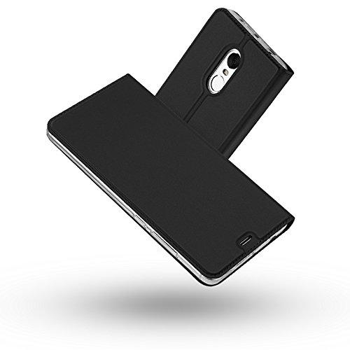 Radoo Redmi Note 4 Hülle, Premium PU Leder Handyhülle Brieftasche-Stil Magnetisch Folio Flip Klapphülle Etui Brieftasche Hülle Schutzhülle Tasche Case Cover für Xiaomi Redmi Note 4 (Schwarz grau)