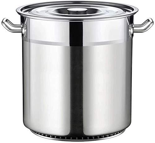 Suppen Bucket Edelstahl Eimer mit Deckel Dicke große Kapazität fin Suppentopf Halogen Barrel runder Lauf zusammengesetzte Unterseite FDWFN (Size : 30 * 32cm)