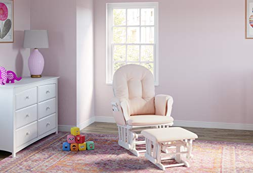 Storkcraft Premium Hoop Glider and Ottoman (White Base, Pink Cushion) – Padded Cushions with Storage Pocket, Smooth Rocking Motion, Easy to Assemble, Solid Hardwood Base