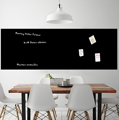 Mehrzwecktafel magnetisch & selbstklebend | 60cm | 15 Größen l schwarz l Kreidetafel l Wandtafel Magnet Tafel l inkl. Kreidestift + 10 Magnete (60x300cm)