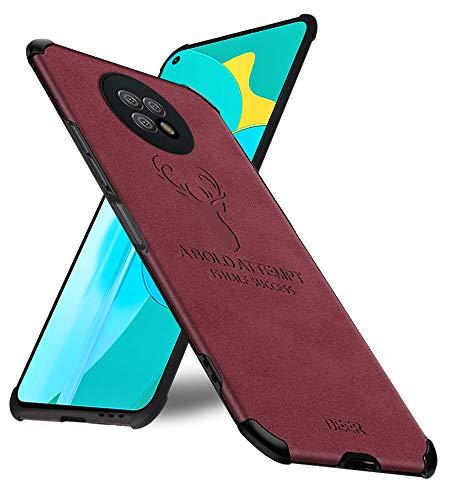 MOONCASE Redmi Note 9 5G Funda,Ultra Delgado Estuche de Cuero Mate [Colchón de Aire] Caso Carcasa de Silicona Borde Suave a Prueba de Golpes Fundas de Protección para Xiaomi Redmi Note 9 5G 6.53'-Rojo