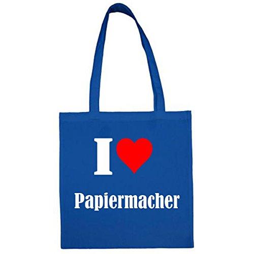 Tasche I Love Papiermacher Größe 38x42 Farbe Blau Druck Weiss
