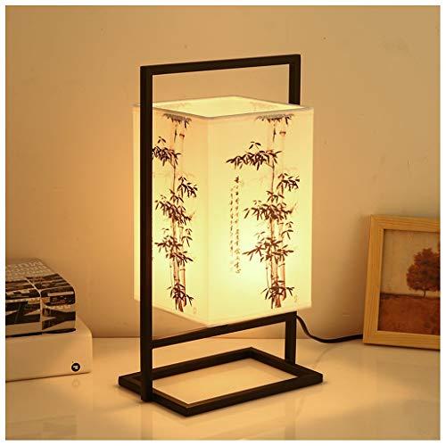 LZY Lámpara de mesita de Noche Japonesa, lámpara de Mesa asiática Moderna con Marco de Metal Negro, Pantalla de Tela cuboide, Interruptor de atenuación (Color : Árbol de bambú)