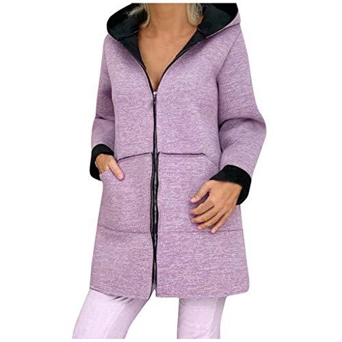 KPPONG Winterjacke Damen Einfarbig Wollmantel Jacke Reißverschluss Mantel Kapuzenjacke Warm Übergangsjacke Parka