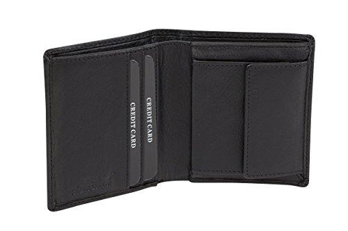 LEAS Minibörse Geldbeutel dünn extra flach viele Karten im Hochformat, Portmonee mit RFID Schutz Folie Echt-Leder, schwarz