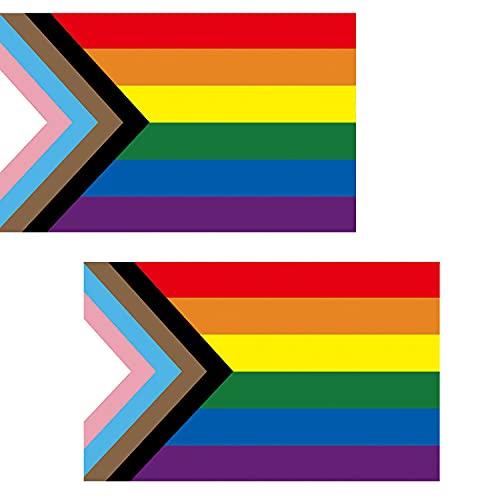 HDCRAFTER 2pcs Inclusive del Orgullo de la Bandera 3x5 para el jardín al Aire Libre Decoración del jardín Pride Bandera del Arco Iris Mostrar su Pride Community Support! (Color : 2PCS)
