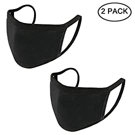 Aooba 2 Pcs Fashion Protective Face Masks, Unisex Black Dust Cotton Mouth Masks, Washable, Reusable Masks 6 <p>❥(^_-)Package Includes 2pcs of cotton mouth masks.It's made of high quality cotton,2layer cotton blend,hygroscopic and breathable。 ❥(^_-)Wearing this face mouth mask, you could be protected from dust, small particles on air, pollen and much more. Anti-dust, anti-odor, washable and reusable. ❥(^_-)One size fit all. With stretchy adjustable earloops for closely fit,preventing leaving trace on your face after taking off,easy to wear and take off. ❥(^_-)Fashion protective face mask windproof mouth is perfect for daily wear to protect you from droplets,smog,dust, ash and so on.On the other hand,it can protect your privacy。 ❥(^_-)Fashion deisgn,100% new brand and high quality!</p>