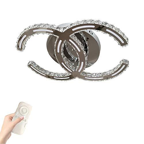 Luces De Techo LED Minimalista Moderno Sala De Estar Dormitorio Luz De Techo, Con Control Remoto Lampara De Techo De Cristal Transparente K9, Elegante Lámpara De Espejo De Acero Inoxidable,Ø35cm 24w