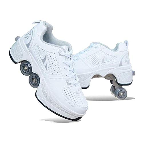 Wedsf 2 in 1 Sportschuhe Deformation Schuhe Rollschuhe Skating Outdoor Quad Skate Erwachsene Skate Roller Skating Sportarten Kinder Rollschuhe Mit Einer Radverformung,35