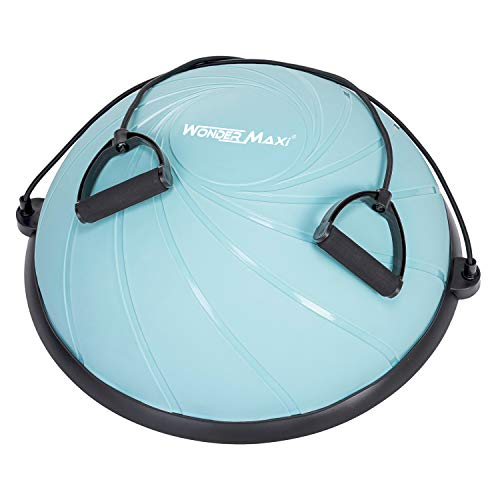 Yoga Balance Trainer Exercise Ball with Resistance Bands, Half Dome Stability Ball Home Fitness Strength Exercise Workout with Pump (Blue)