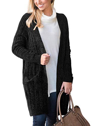 Doballa dames fluweel met lange mouwen Chenille Open voorkant vest trui jas met zakken