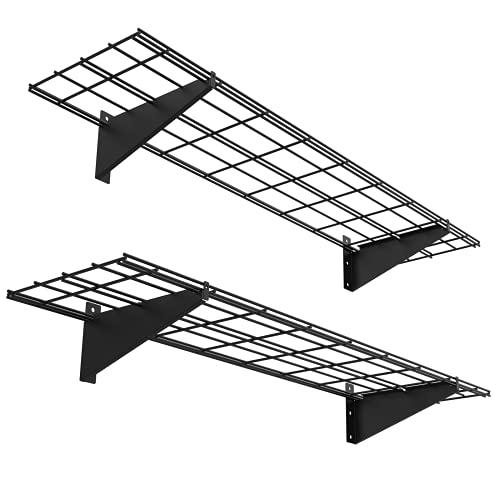 2 PackGarage Metal Shelving 1×4ft 12-inch-by-48-inch Wall Mounted Shelf Garage Storage Rack Heavy Duty, Black