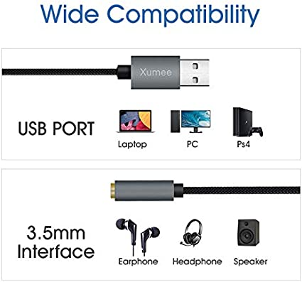 Mac PC PS4 Laptop USB to Audio Jack Adapter,USB-A to 3.5mm Female Headset Adapter,External Stereo Sound Card for Headphone Desktops and More 36CM, Grey
