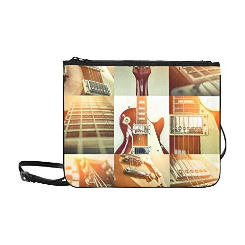 WYYWCY E-Gitarre, umgeben von Lightning Pattern Benutzerdefinierte hochwertige Nylon Slim Clutch Crossbody Tasche Umhängetasche
