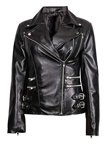 High Star Collections Chaqueta de cuero genuino del motorista del estilo de la motocicleta del vintage del desgaste - negro - XL