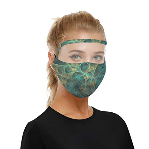 JIJI886 Fashion Printed Washable Reusable Cotton Eye Shield Face Bandanas with Clear Window, Transparent Comfortable Visual Haze Dust Health Mouth Protection for Men &Women 1PC (F)