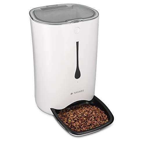 Navaris Dispensador de Comida automático con Temporizador - Comedero automático de 6L para 4 porciones de Comida diarias - para Perros y Gatos