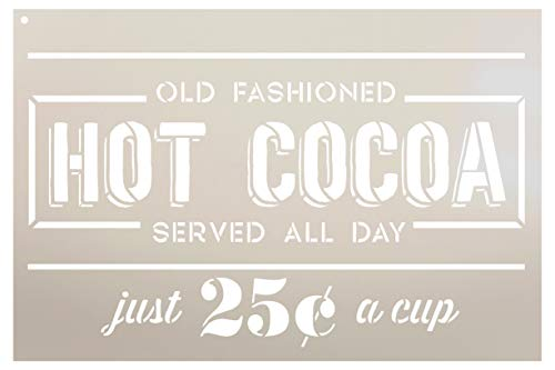 Hot Cocoa 25 Cents Stencil by StudioR12   Old Fashioned   Reusable Mylar Template   Paint Wood Sign   Craft Rustic Vintage Christmas Home Decor   DIY Farmhouse Holiday Chocolate Kitchen   Select Size