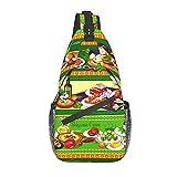 QQIAEJIA Fftian Vegetables And Fruit Dessert Beef Pepper Soup Yogurt Sling Backpack,Travel Hiking Mochila Pattern Rope Bandolera bolsa de hombro