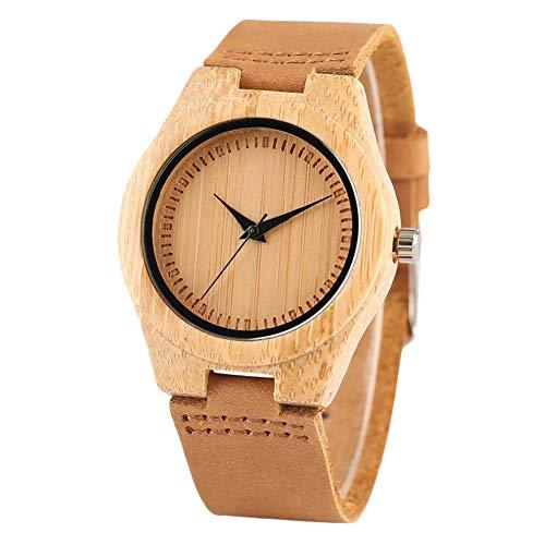 MFWLGK Bamboe Hout Horloge Mode Vrouwen Jurk Klok Leer Geen Woorden Ronde Wijzerplaat Quartz Horloges
