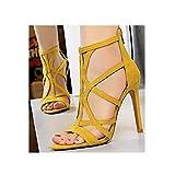 GODLOVEYOU Damen High Heels Sommer Roman Style Slim Heel Wildleder Hollow Out Sexy Nightclub Sandalen