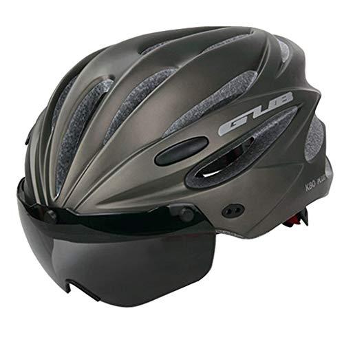 freneci Fahrradhelm mit Abnehmbarer Schutzbrille Visier, Unisex Radhelm Fahrradhelme für Fahrradfahren, Mountainbike, Motorrad - Grau