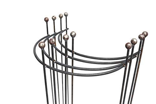 Hirsch Terracotta 4X Staudenhalter halbrund stabil Breite 45cm Höhe 90cm Vollmaterial Rankhilfe mit Kugel Pflanzstütze Rankgitter