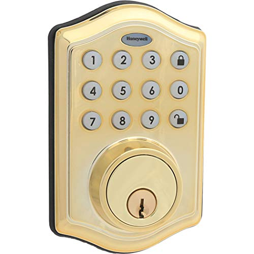 Honeywell Safes & Door Locks - 8712009 Electronic Entry Deadbolt with Keypad, Polished Brass